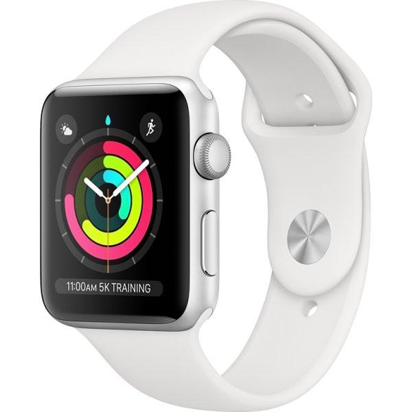 Apple Watch Series 3 38 mm (sølv alu/hvid sportsrem)