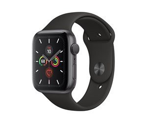 Apple Watch Series 5 (GPS) 44mm Space Gray Aluminum Case with Black Sport Band